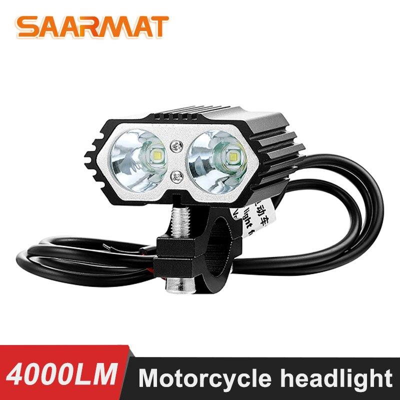 2PCS 20W 6000K Motorcycle led Headlight Spot light 2x XM-L T6 LED Fog Driving Lamp with Switch  LED Scooters Spotlight 12v-85v